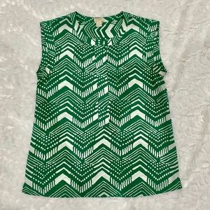 J.Crew work blouse green and white size 2P